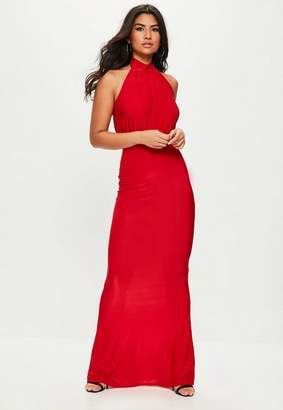 Missguided Slinky High Neck Maxi Dress