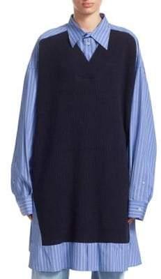 Maison Margiela Pinstripe Poplin Shirt with Knit Vest Detail