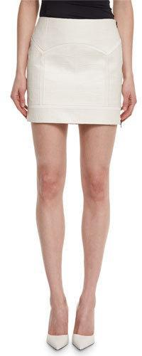 Tom FordTOM FORD Crocodile-Embossed Leather Mini Skirt, Chalk