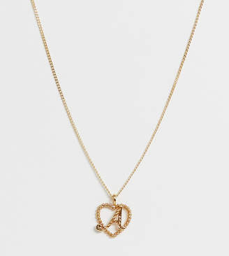 Reclaimed Vintage inspired gold plated A initial pendant necklace