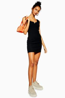 Topshop Womens Waffle Notch Bodycon Dress - Black