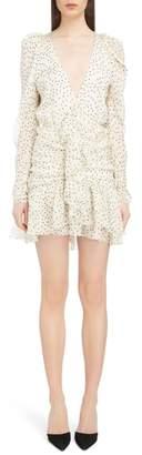 Magda Butrym Ruched Polka Dot Silk Dress