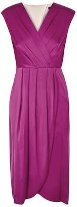 Donna Karan Magenta Pleated Stretch Silk Dress