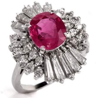 Platinum Ballerina Ruby and Diamond Ring Size 5