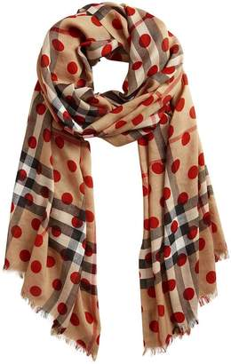 Burberry Spot Print and Check Lightweight Wool Silk Scarf