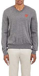 Comme des Garcons Men's Heart V-Neck Sweater - Gray