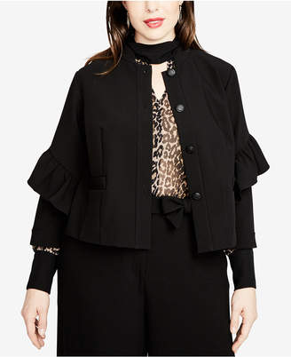 Rachel Roy Trendy Plus Size 3/4-Sleeve Ruffled Jacket