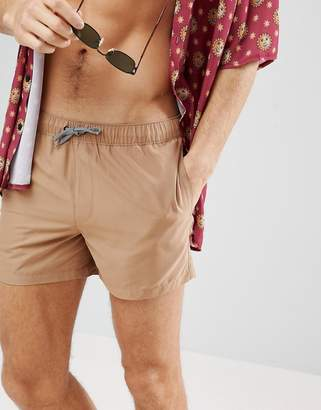Asos Swim Shorts In Brown With Stripe Drawcord Short Length