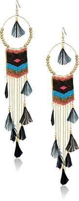 Panacea Women's Black Multi Seed Bead Feather Drop Earrings