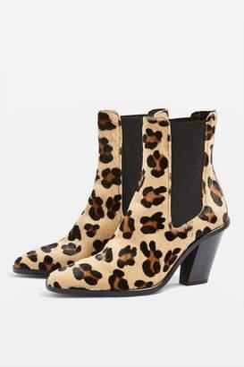 Topshop MORTY Leopard Print Ankle Boots