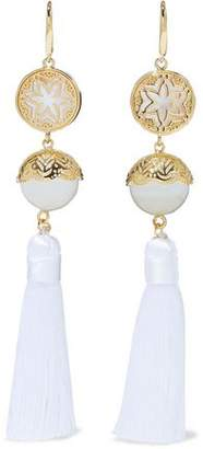 Noir Gold-Tone Faux Pearl And Tassel Earrings