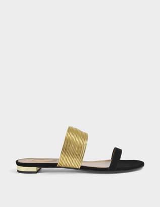 Aquazzura Rendez-Vous Sandal Flat Shoes in Black and Gold Suede and Specchio