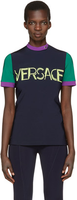 Versace Tricolor Colorblocked Logo T-Shirt $675 thestylecure.com