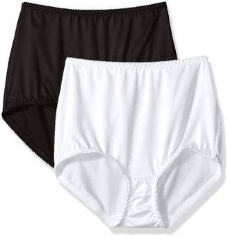 Vassarette Women's Undershapers 2 Pack Light Control Brief 40201, White/Black, L