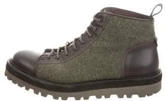 Saint Laurent Leather-Trimmed Ankle Boots