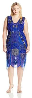 Unique Vintage Women's Size Bosley Beaded Fringe Dress Plus