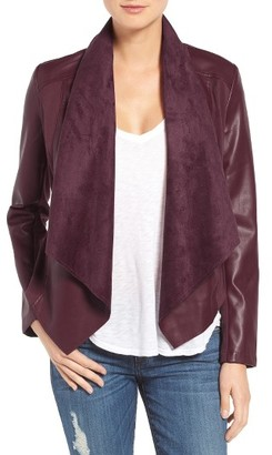 Women's Kut From The Kloth 'Ana' Faux Leather Drape Front Jacket $98.50 thestylecure.com