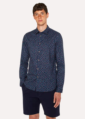Paul Smith Men's Slim-Fit Navy 'Torn Floral' Print Cotton Shirt