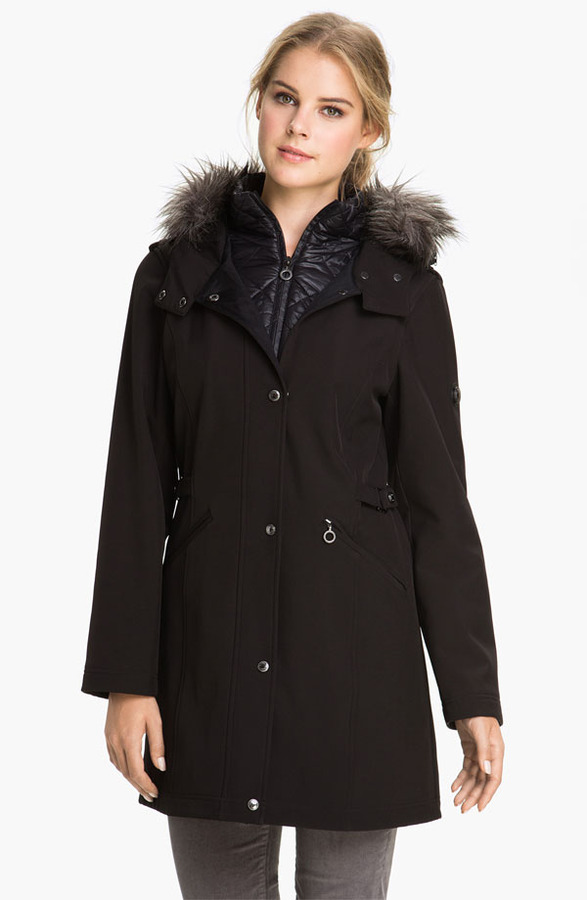 Calvin Klein Faux Fur Trim Hooded Softshell Coat