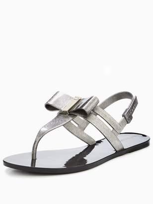 Zaxy Glaze Glitter Bow Flat Jelly Sandal - Black
