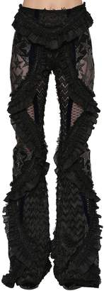 Crystals Sheer Lace & Tulle Flared Pants