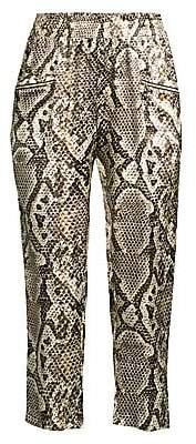 L'Agence Women's Leigh Snake-Print Silk Cropped Trousers