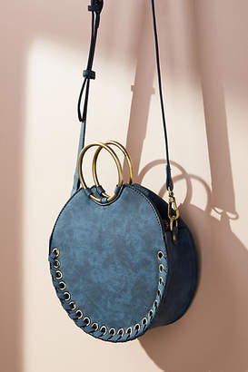 Anthropologie Stitched Circular Crossbody Bag