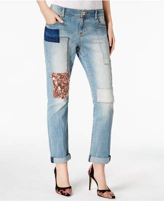 INC International Concepts I.n.c. Patched Boyfriend Jeans