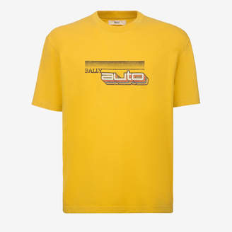 Bally Auto Print T-Shirt Yellow, Men's cotton jersey t-shirt in canary yellow