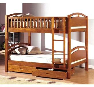 Furniture of America Fermin Twin Bunk Bed with Drawers, Multiple Colors