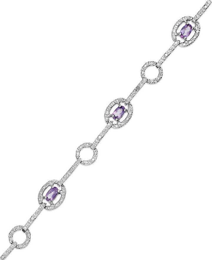Townsend Victoria Sterling Silver Bracelet, Amethyst (1-1/3 ct. t.w.) and Diamond Accent Bracelet