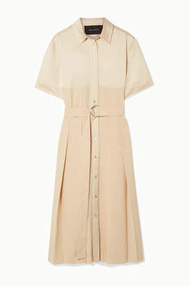Cédric Charlier Belted Pleated Satin And Crepe Midi Dress - Cream