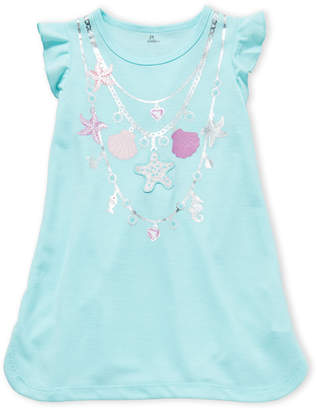 Petit Lem Toddler Girls) Mermaid Seashell Necklace Flutter Tee