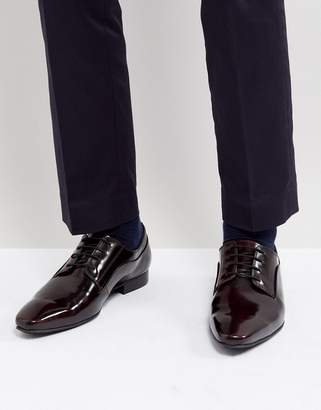 Dune Lace Up Derby Shoes In Burgundy High Shine
