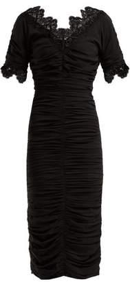Dolce & Gabbana Ruched Silk Georgette Midi Dress - Womens - Black