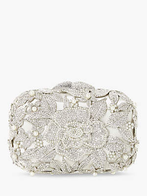 Dune Celebration Diamante Hard Case Clutch Bag, Ivory