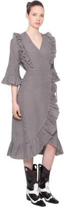Ganni Charron Tech Cotton Wrap Dress