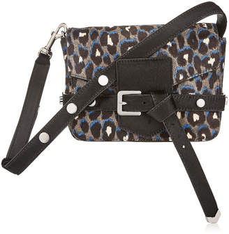 Jimmy Choo LEXIE/S Pop Blue Mix Leopard Print Pony Cross Body Bag