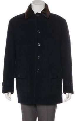 Barneys New York Barney's New York Faux Fur-Trimmed Virgin Wool Coat