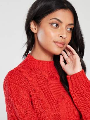 Very Volume Sleeve Cable Knit Jumper - Orange