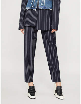 House of Holland Pinstriped high-rise wool trousers