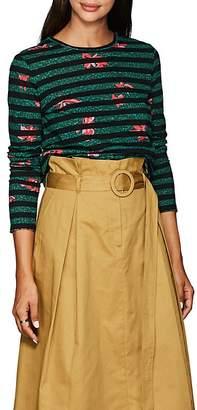 Proenza Schouler Women's Striped Floral Cotton T-Shirt