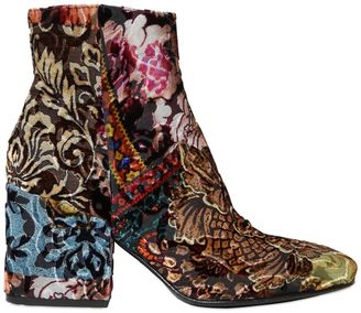 70mm Brocade Velvet Ankle Boots $393 thestylecure.com