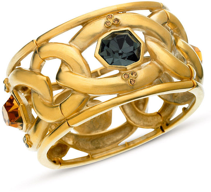 T Tahari Bracelet, 14k Gold-Plated Black Crystal Stretch Bracelet