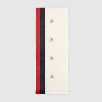 Gucci Web wool cashmere scarf with stars