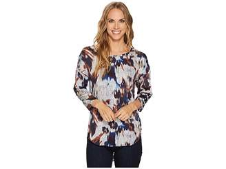 Tribal Long Sleeve High-Low Printed Blouse Women's Blouse