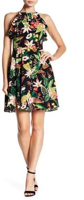 London Times Floral Woven Crepe Dress