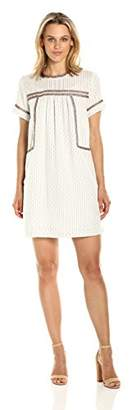 Michael Stars Women's Dobby Stripe Peasant Dress with Beading Detail