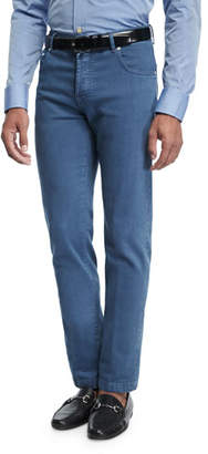 Kiton Washed Stretch-Denim Straight-Leg Jeans