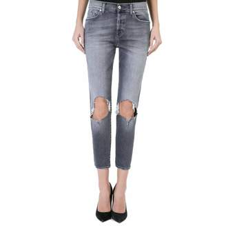 Women's Faded Grey Josie Boyfriend Stretch Jeans